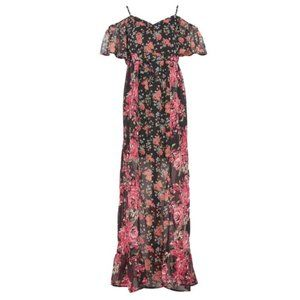 Band of Gypsies Maxi Dress Black Floral Size Med